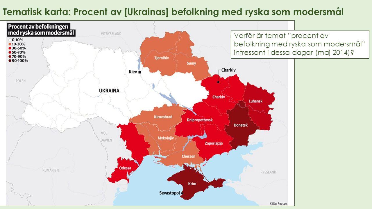 Tematisk karta: Procent av [Ukrainas] befolkning med ryska som modersmål